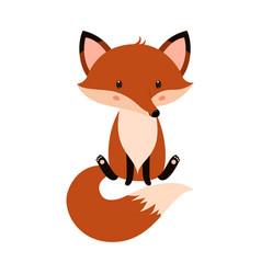 cute cartoon fox in modern simple flat style vector image