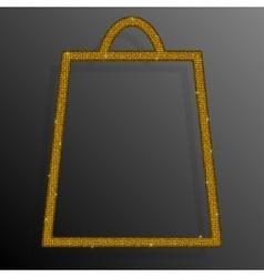 Gold Sequins Shopping Bag Glitter Sale offer vector image
