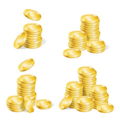 realistic coin stack set vector image vector image