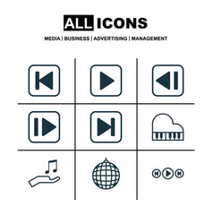 set of 9 audio icons includes audio buttons skip vector image vector image