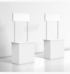 3d realistic blank white promo stand vector image vector image