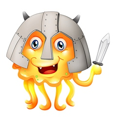 A monster with a sword and a helmet vector image