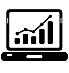 black laptop and chart icon on white vector image vector image