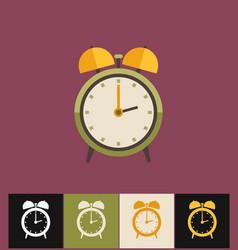 clock icon flat green analog vector image vector image