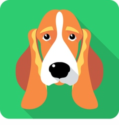 dog Basset Hound icon flat design vector image vector image