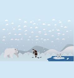 eskimo and polar bear in vector image