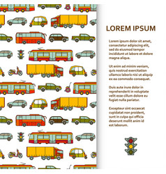flat poster or banner template with cars and city vector image vector image