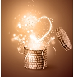 Opened gift-box with hearts vector image vector image