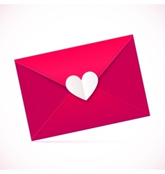 Pink paper envelope with white heart vector image vector image