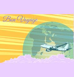 Plane flight travel tourism retro background bon vector