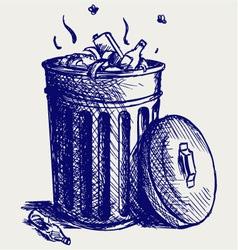 Trash bin full of garbage vector image