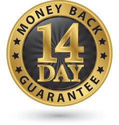 14 day money back guarantee golden sign vector