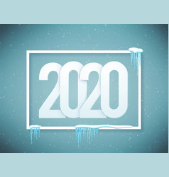 2020 happy new year poster decorated with vector image