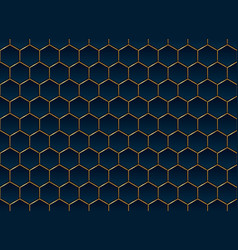 Abstract blue and gold hexagon pattern background vector
