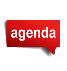 Agenda red 3d realistic paper speech bubble vector