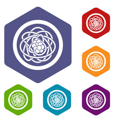 Asian noodles icons set hexagon vector