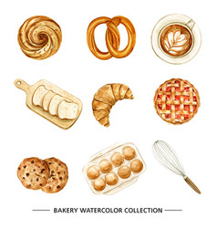 Bakery coffee design with watercolor on white back vector
