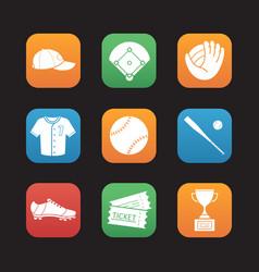 baseball accessories flat design icons set vector image