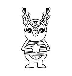 bear with sweater and horns happy merry christmas vector image
