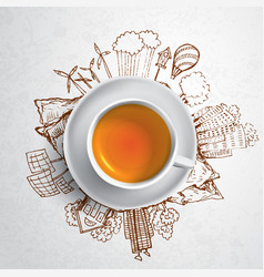 Black tea with circle ecology doodles sketched vector