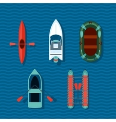 Boats collection Top view of ships vector image