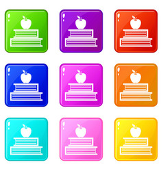 Books and apple icons 9 set vector
