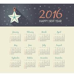Calendar 2016 year with christmas star vector