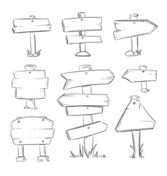 Cartoon doodle road wooden signs set vector