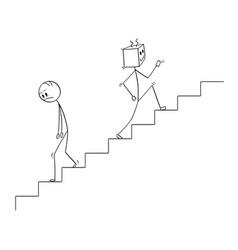 Cartoon of human going down the stairs and robot vector