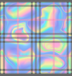 Check fashion holographic seamless pattern vector