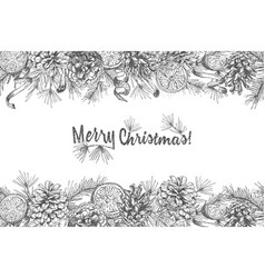 christmas background realistic botanical ink vector image
