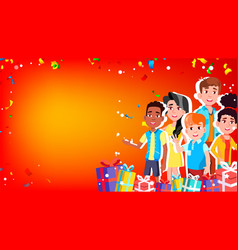 Christmas card with children and gifts vector