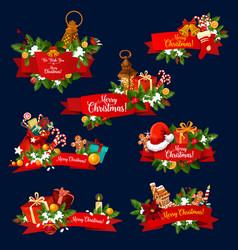 christmas greeting ribbon banner of new year card vector image