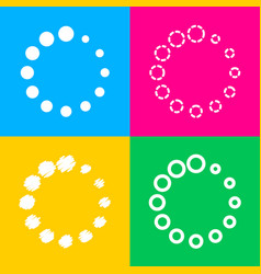 Circular loading sign four styles of icon on four vector