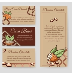 Cocoa beans and chocolate cards set vector