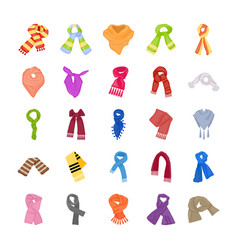 Colorful scarves icons pack vector