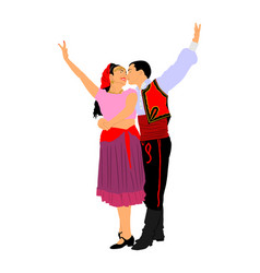 Couple in love kissing and dancing folklore event vector