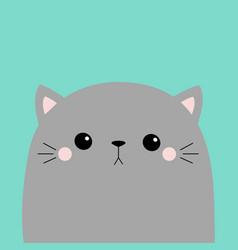 cute cat face head kawaii animal gray silhouette vector image