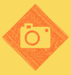 Digital camera sign red scribble icon vector