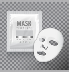 facial sheet mask with sachet blank mock vector image