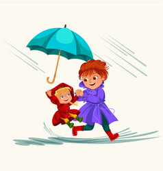 Family woman with girl walking rain with umbrella vector