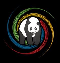 Fat panda standing cartoon logo vector