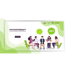 Female psychologist talking with patients group vector