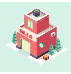 Flat 3d isometric Christmas store New year sale vector image