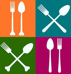 Fork spoon four brick vector