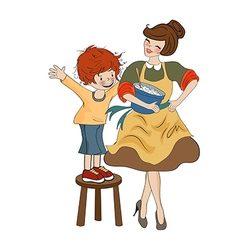 Funny boy and his mother isolated on white vector