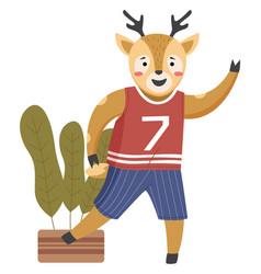 Funny cartoon animal student a deer schoolboy vector