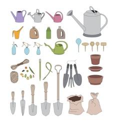 Gardening tools for plants growing on window sills vector