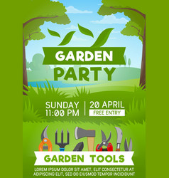 gardening tools on green grass vector image