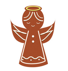 Gingerbread angel christmas cookie new year vector